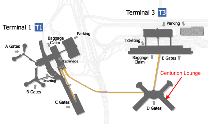 Centurion Lounge LAS Map