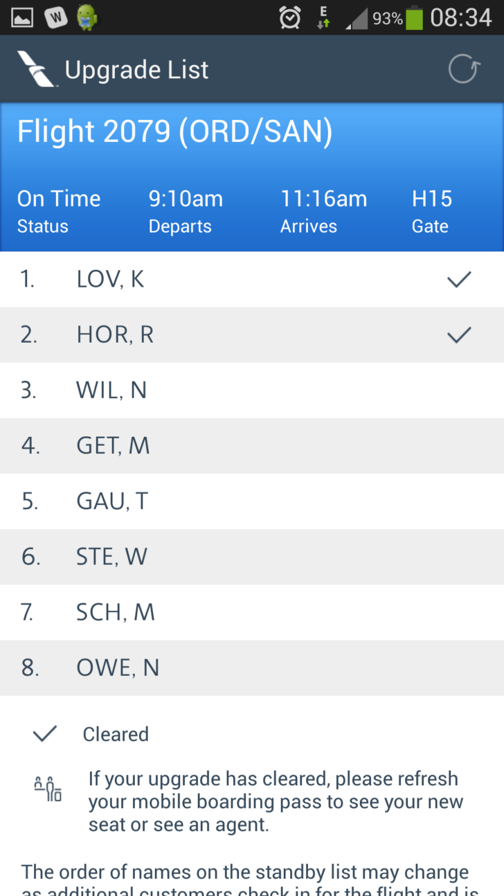 AA Upgrade List on the Mobile App - Travel Codex
