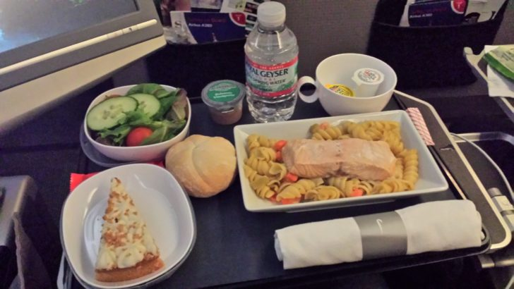 British Airways Premium Economy Seafood meal