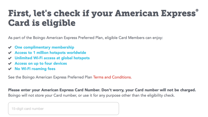 You'll need to enter an American Express Platinum Card number