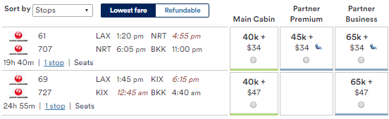 Prices to Bangkok are more expensive than Japan