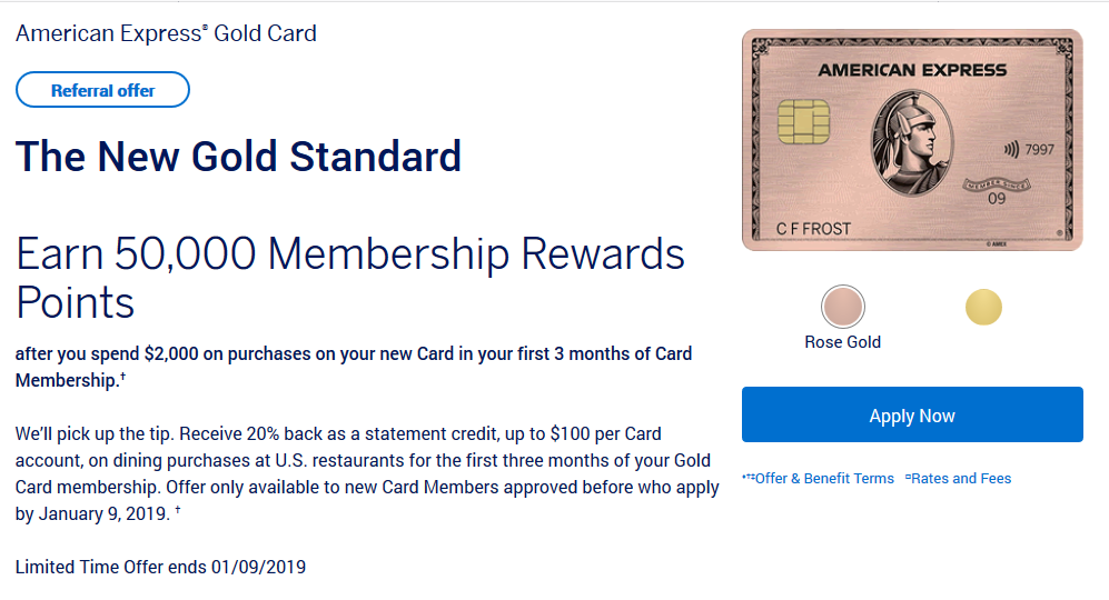 Amex Gold Sample Referral Offer