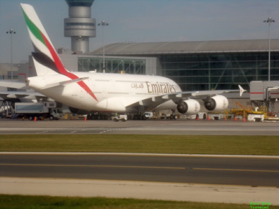 Emirates A380 at YYZ
